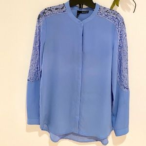 ❤️ The Kooples Lace Sleeve Inset Blouse